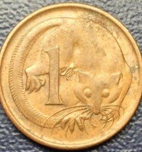 """Монета Австралии, 1 цент """"Лисий кузу"""""""