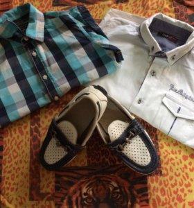 Рубашки + мокасины на мальчика 7-9 лет