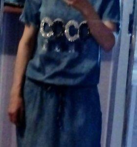 Платье джинсовое , костюм летний