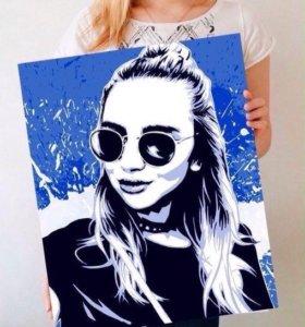 POP-ART Портрет по фото на холсте