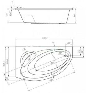 Ванна акриловая Julianna 160×95