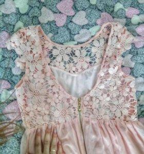 Лёгкое платье пудровый цвет, нежно розовый