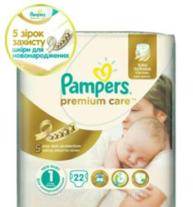 Pampers Premium Care (размер 1) 2-5кг. 22шт.
