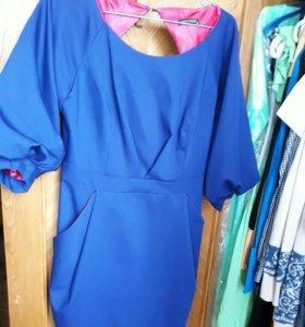 Платье мини. Синего цвета