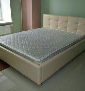 Кровать из экокожи с матрасом