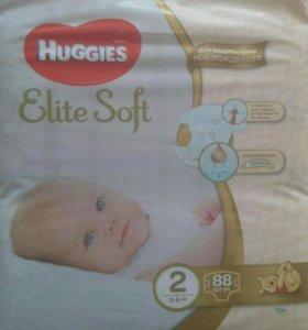 Подгузники Huggies Elite Soft 2 от 3-6(7)кг-88шт