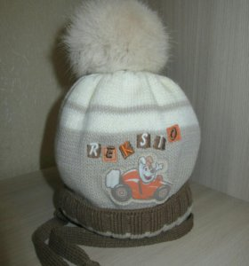 Зимняя шапочка  с натуральным мехом