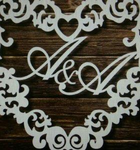 Свадебная монограмма фамилия в подарок