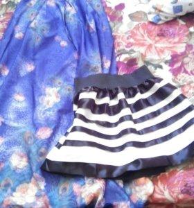 юбка синяя в пол с эффектом 3D