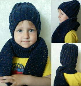 Комплект шапочка Бини +шарф
