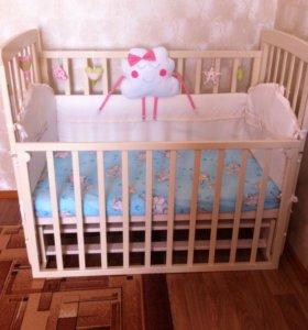 Детская кроватка с маятником +матрас и борта
