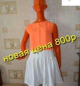 Платье шифон с трикатажем
