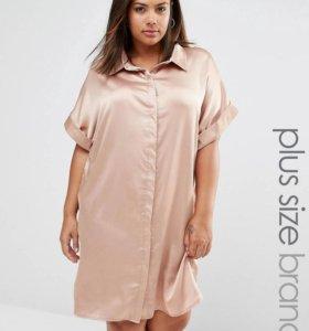 50-58 Атласное платье рубашка
