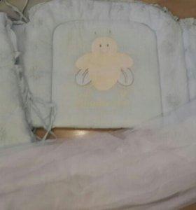 Бортики,балдахин и одеяло для кроватки
