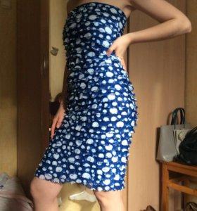 Коктейльное синие платье вечерие