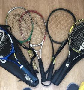 Теннисные ракетки, 5 шт, чехлы.