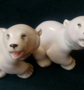 """Статуэтка """"Белый медвежонок"""",60-70-е ,ЛФЗ"""