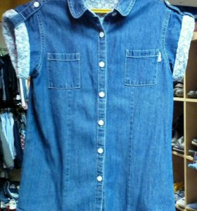 Джинсовая блузка рост 146