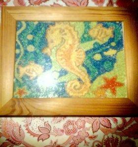 Картина цветным песком : подводный мир