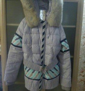 Куртка р 44 и платье на девочку 9-10лет