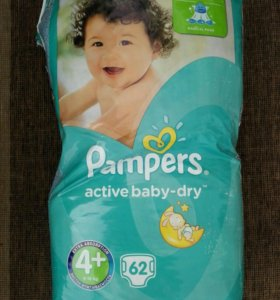 Pampers active baby dry 4+ 60шт