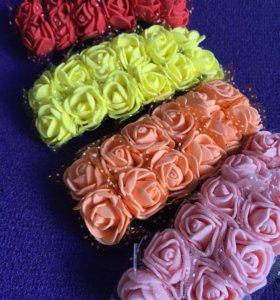 Розы 12шт из фоамирана на проволоке с сеткой