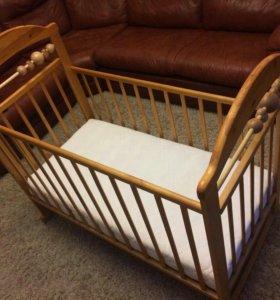 кроватка детская с новым матрасом