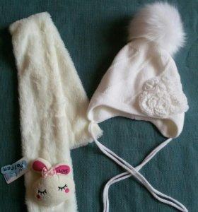 Шапка и шарф новые для девочки на 3-5 лет