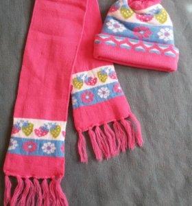 Комплект новый шапка и шарф для девочки на 3-5 лет
