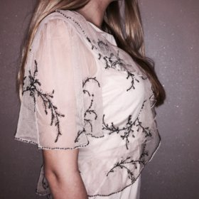 Винтажная накидка на платье прозрачная бежевая