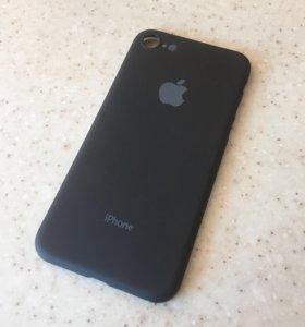 Черный матовый чехол для айфон 7