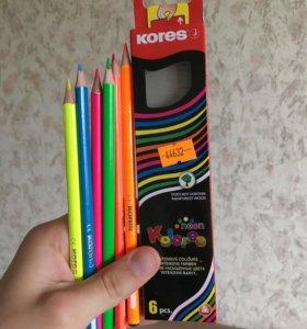 Карандаши цветные Kores 6 цветов неон