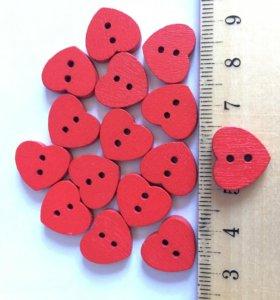 Деревянные сердечки 3шт набор пуговиц скрап декор