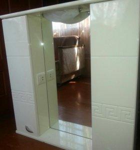 Новый шкаф с зеркалом и подсветкой для ванной