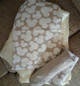 Комплект в кроватку+ортопедическая подушка