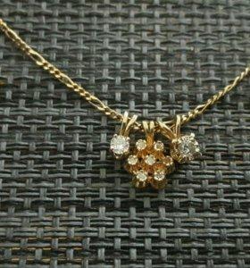 Золотые подвески с бриллиантами