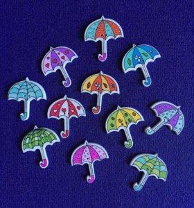 Зонтики 3шт деревянные пуговицы скрап декор