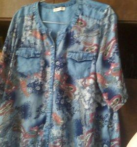 Блуза с джинсовой отделкой легкая сам материал шиф