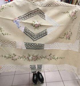 Скатерть с вышивкой и подкладкой