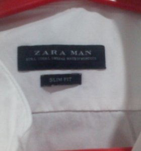 Рубашка мужская-белая Zara, SlimFit