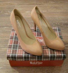 Туфли бежевые лакированные MakFine