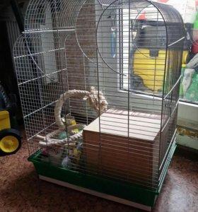 Клетка с домиком для попугаев.