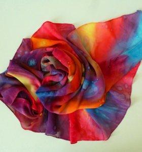 Шифоновый треугольный платок, шарфик,  парео