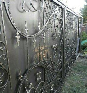 Красивые кованые ворота по индивидуальным эскизам