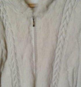 Куртка вязаная с мехом кролика