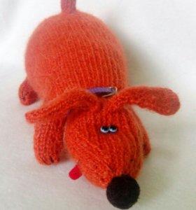 Собачка - вязаная игрушка.