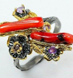 Серебряное кольцо с кораллом и аметистом.