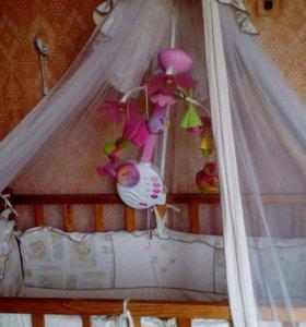 Балдахин с бортиками ,мобиль ,кроватка