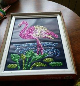 Фламинго из пайеток