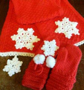 "Комплект шарф и варежки ""снежинка"""